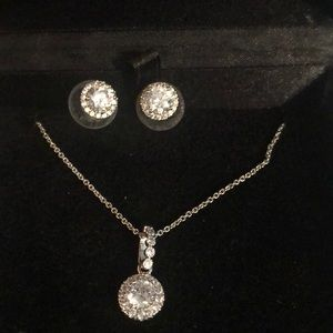 Cubic zirconium necklace and earrings set